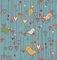 Seamless Valentine Background with Birds and vector image