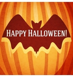 Happy halloween greeting card with bat carved in vector