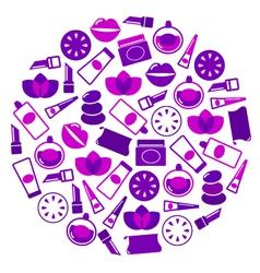 purple cosmetics icons vector image