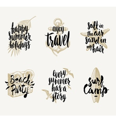 Set of summer vacation hand drawn designs vector