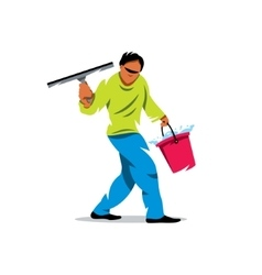 Window washer cleaning service cartoon vector