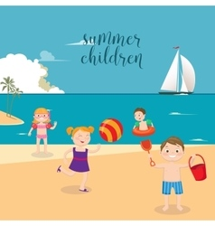 Girls and boys playing on the beach vector