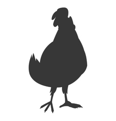 Hen cartoon silhouette icon vector