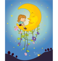 A girl and a moon vector