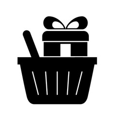 Basket shopping with gift isolated icon vector