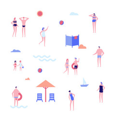 Beach holiday - flat design style set of isolated vector