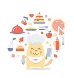 Character chef in a chefs hat colorful flat vector