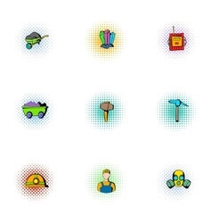 Colliery icons set pop-art style vector