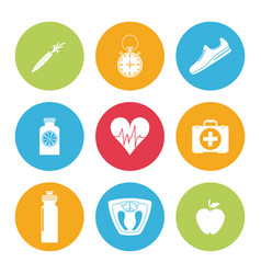 Colorful set of element sport healthy icons vector