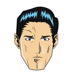Comic style face of man with black hair icon vector