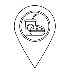 fast food pin map icon outline style vector image vector image