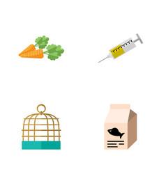 flat icon animal set of bird prison vaccine root vector image vector image