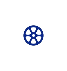 Flat paper cut style icon of old tape spool vector image vector image