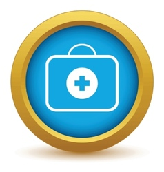 Gold doctor bag icon vector