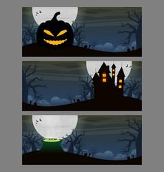 halloween background flat design set vector image vector image