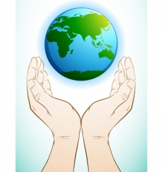 holding earth vector image vector image