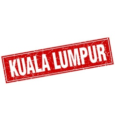 Kuala lumpur red square grunge vintage isolated vector