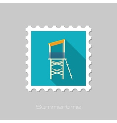 Lifeguard tower flat stamp summer vacation vector