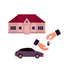Male hands giving and taking a key car and house vector