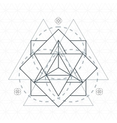 Merkaba outline flower of life sacred geometry vector