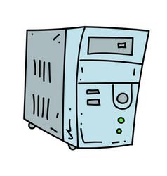Old computer cartoon hand drawn image vector