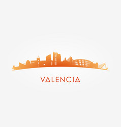 Outline valencia skyline with landmarks vector