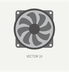 Plain flat color computer part icon cooling vector