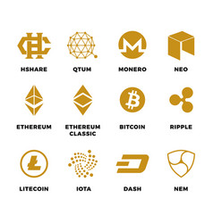 Popular cryptocurrency bitcoin blockchain vector