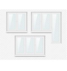 realistic white plastic window icon set vector image