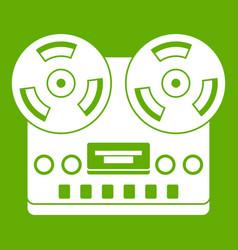 retro tape recorder icon green vector image