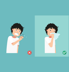 Right and wrong sneezing in hand and handkerchief vector