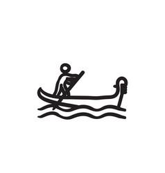 Sailor rowing boat sketch icon vector