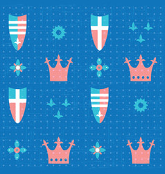 seamless pattern with crowns and shields vector image vector image