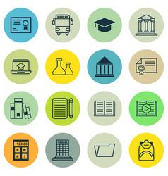 Set of 16 school icons includes haversack vector
