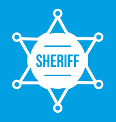 Sheriff badge icon white vector