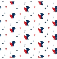 Superhero in cape with stars seamless kid pattern vector image