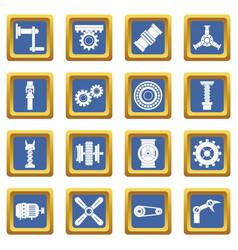 Techno mechanisms kit icons set blue vector