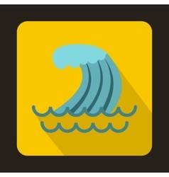 Tsunami wave icon in flat style vector