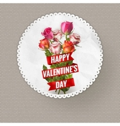 Valentines Day vintage card with roses EPS 10 vector image
