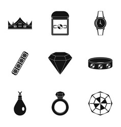 women jewelry icon set simple style vector image