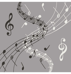 Stylish of music notes on grey vector image