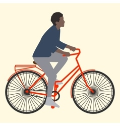 A woman rides on an orange bike with luggage flat vector