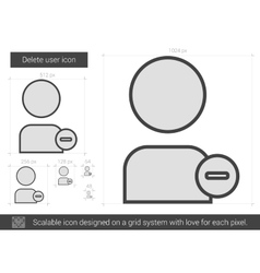 Delete user line icon vector