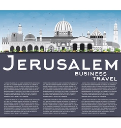 Jerusalem skyline with gray buildings vector