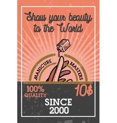 Color vintage manicure banner vector