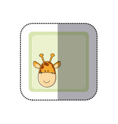sticker colorful greeting card with picture vector image