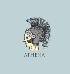 godness athena logo ancient greece antique symbol vector image