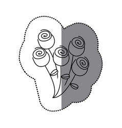 sticker silhouette bouquet roses floral icon vector image