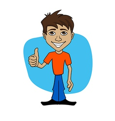 Cartoon of happy man giving thumb up vector