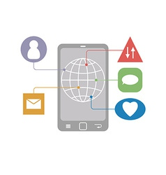 Flat mobile infographic of communication icons on vector